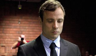 FILE In this file photo taken Monday, Aug. 19, 2013 double-amputee Olympian Oscar Pistorius, at the magistrates court in Pretoria, South Africa, when Pistorius was indicted on charges of murder and illegal possession of ammunition for the shooting death of his girlfriend on Valentine's Day. It was reported on Thursday, Jan. 23, 2014, that Oscar Pistorius' lawyers have been negotiating an out-of court settlement for nearly six months with representatives of the parents of slain girlfriend Reeva Steenkamp, which a legal expert says could be raised by prosecutors in the Olympic athlete's murder trial.  Lawyers for both sides said Thursday the negotiations are continuing and declined to comment on any details of a possible settlement, which media reports say could see the double-amputee runner pay in the region of $275,000 to Steenkamp's family.(AP Photo/Themba Hadebe, File)