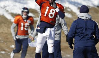 Denver Broncos quarterback Peyton Manning (18) throws a pass during NFL football practice at the team's training facility in Englewood, Colo., on Thursday, Jan. 23, 2014. The Broncos are scheduled to play the Seattle Seahawks in Super Bowl XLVIII on Feb. 2. (AP Photo/Ed Andrieski)