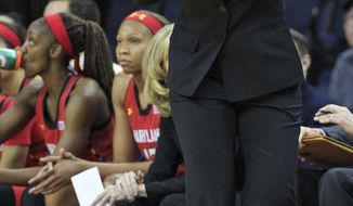 Maryland head coach Brenda Frese directs her team during the first half of an NCAA college basketball game in Charlottesville, Va., Thursday, Jan. 23, 2014.  (AP Photo/Steve Helber)