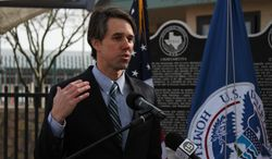 U.S. Rep. Beto O'Rourke speaks at the kick-off ceremony of a private-public partnership at the Paso del Norte Port of Entry in El Paso, Texas, Thursday, Jan. 23, 2014. Customs and Borders Protection is launching a pilot program in which public and private entities are allowed to give money to the federal agency to pay for infrastructure and staffing in order to cut traveler wait times at ports of entry. (AP Photo/Juan Carlos Llorca)