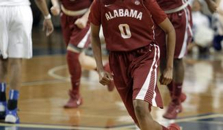 Alabama's Daisha Simmons (0) celebrates after an NCAA college basketball game against Kentucky, Thursday, Jan. 23, 2014, in Lexington, Ky. Simmons scored 21 points and hit the final shot in Alabama's 57-55 win. (AP Photo/James Crisp)
