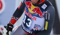 Bode Miller of United States gets to the finish area after completing an alpine ski men's World Cup downhill training in Kitzbuehel, Austria, Thursday, Jan. 23, 2014. (AP Photo/Giovanni Auletta)