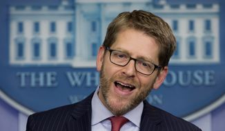 White House press secretary Jay Carney speaks during his daily news briefing at the White House in Washington, Thursday, Jan. 23, 2014. Carney talked about President Barack Obama's upcoming State of the Union Address, the Ukraine and other topics. (AP Photo/Carolyn Kaster)