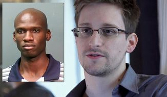 Washinton Navy Yard shooter Aaron Alexis and Edward Snowden (TWT Photo Illustration)