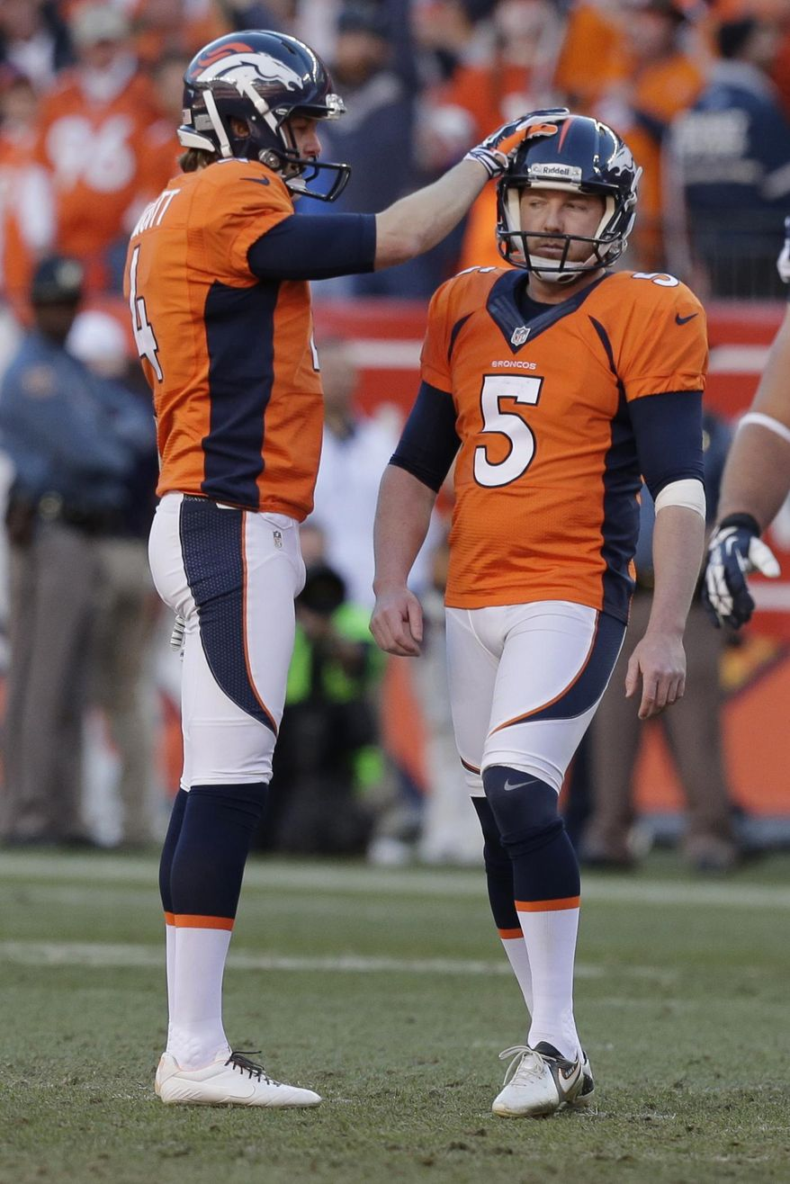 Denver Broncos punter Britton Colquitt congratulates Denver Broncos kicker Matt Prater (5) after his field goal during the second half of the AFC Championship NFL playoff football game in Denver, Sunday, Jan. 19, 2014. (AP Photo/Julie Jacobson)