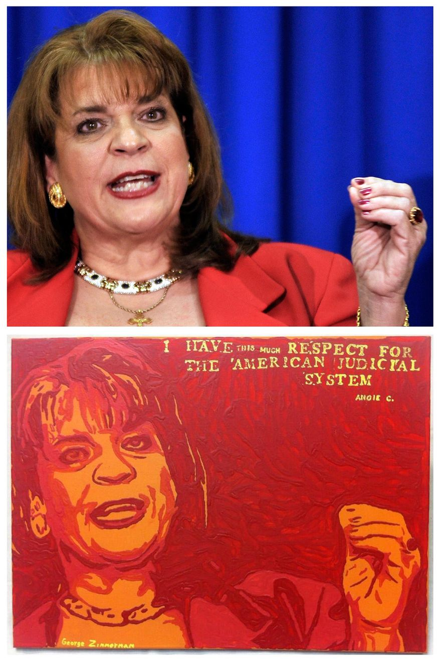 """This combination image shows an Associated Press photo, top, of Florida State Attorney Angela Corey, taken in Jacksonville, Fla., on April 11, 2012, during her announcement of second-degree murder charges against George Zimmerman in the shooting death of Trayvon Martin, and a painting, bottom, by George Zimmerman that portrays Angela Corey, titled """"Angie."""" The Associated Press has demanded that Zimmerman halt the sale of the painting because the news agency says it directly copies the AP photo above. (AP Photo/Rick Wilson)"""