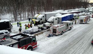 In this photo provided by the Indiana State Police, emergency crews work at the scene of a massive pileup involving more than 40 vehicles, many of them semitrailers, along Interstate 94 Thursday afternoon, Jan. 23, 2014, near Michigan City, Ind. (AP Photo/Indiana State Police)