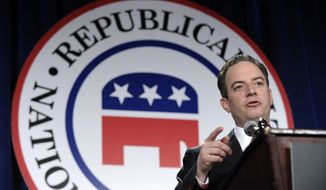 Republican National Committee (RNC) Chairman Reince Priebus speaks at the Republican National Committee winter meeting in Washington, Friday, Jan. 24, 2014. Seeking to shorten the Republican presidential selection process, the GOP moves to hold  its national convention in late June or early July in 2016, roughly two months sooner than usual. Iowa and New Hampshire would retain their coveted spots atop the presidential primary calendar. (AP Photo/Susan Walsh)