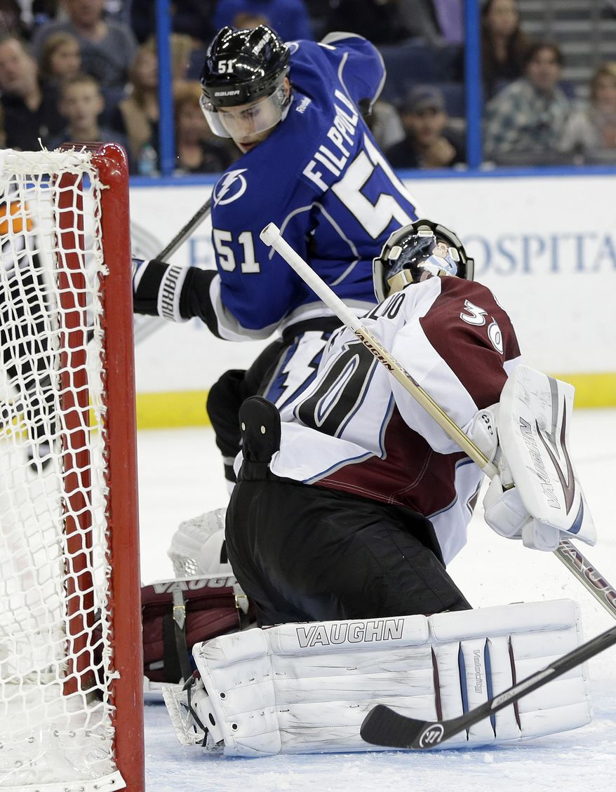 Tampa Bay Lightning center Valtteri Filppula (51), of Finland, scores past Colorado Avalanche goalie Sami Aittokallio (30), also of Finland, during the second period of an NHL hockey game Saturday, Jan. 25, 2014, in Tampa, Fla. (AP Photo/Chris O'Meara)