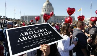 """Abortion opponents gather in San Francisco's Civic Center for the """"Walk for Life"""" rally and march, Saturday, Jan. 25, 2014, in San Francisco.  Thousands of abortion opponents marched through downtown San Francisco for the 10th annual """"Walk for Life West Coast."""" The protesters rallied at Civic Center Plaza in front of City Hall before marching down Market Street to Justin Herman Plaza.  (AP Photo/Beck Diefenbach)"""