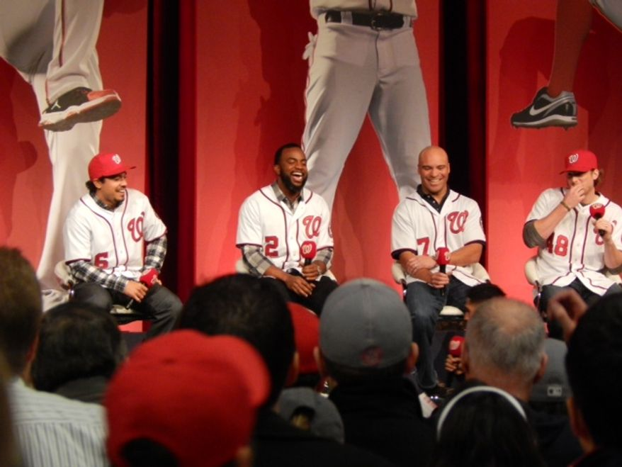Anthony Rendon, Denard Span, Jerry Hairston and Ross Detwiler answer questions on stage at NatsFest at National Harbor. (Photo by: Andrew S Geraci / The Washington Times)