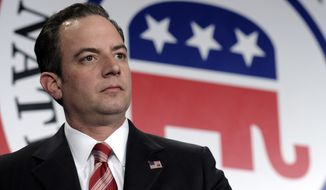 In this Jan. 24, 2014, photo, Republican National Committee chairman Reince Priebus is seen at the RNC winter meeting in Washington. The dueling faces of a conflicted political party were on display for all to see at the just-concluded RNC meeting. The reminder of the divisions comes a year after Priebus published a report aimed at modernizing the party and boosting its ranks, and as Republicans eye their best chance at taking control of both houses of Congress since 2002. (AP Photo/Susan Walsh)