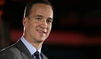 Denver Broncos quarterback Peyton Manning talks with reporters during a news conference Sunday, Jan. 26, 2014, in Jersey City, N.J. The Broncos are scheduled to play the Seattle Seahawks in the NFL Super Bowl XLVIII football game Sunday, Feb. 2, in East Rutherford, N.J. (AP Photo/Mark Humphrey)