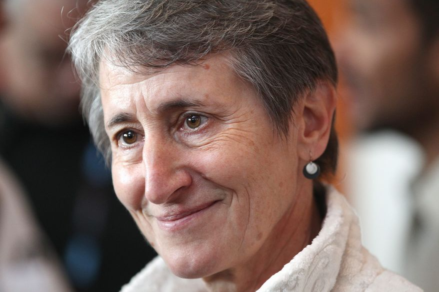 """Interior Secretary Sally Jewell kept press out of a meeting in Colorado to ensure an """"open and frank conversation,"""" said her spokesman. (ASSOCIATED PRESS)"""