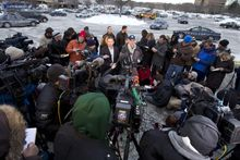 Howard County police chief William McMahon speaks to reporters at the parking lot of the  Mall in Columbia, Md., after a shooting at the mall on Saturday Jan. 25, 2014 in Howard County, Md. Police in Maryland say three people died Saturday in a shooting at a mall in suburban Baltimore, including the presumed gunman. ( AP Photo/Jose Luis Magana)