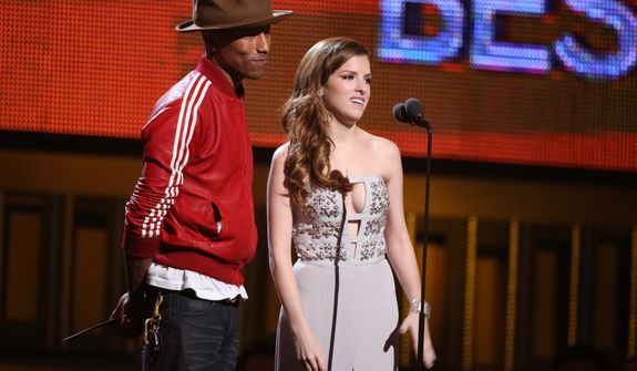 Pharrell Williams, left, and Anna Kendrick present the award for nest new artist at the 56th annual Grammy Awards at Staples Center on Sunday, Jan. 26, 2014, in Los Angeles. (Photo by Matt Sayles/Invision/AP)