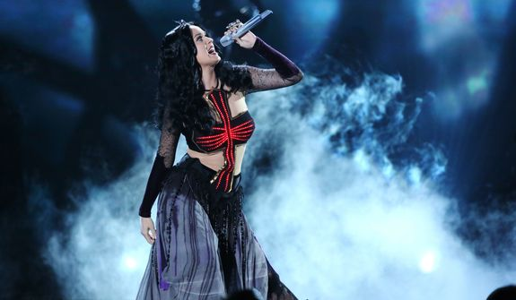 "Katy Perry performs ""Dark Horse"" at the 56th annual Grammy Awards at Staples Center on Sunday, Jan. 26, 2014, in Los Angeles. (Photo by Matt Sayles/Invision/AP)"