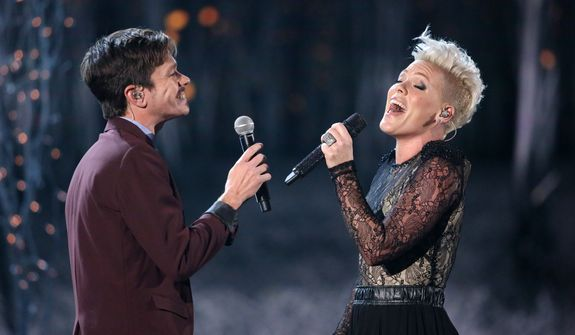 "Nate Ruess, left, and Pink perform ""Just Give Me a Reason"" at the 56th annual Grammy Awards at Staples Center on Sunday, Jan. 26, 2014, in Los Angeles. (Photo by Matt Sayles/Invision/AP)"