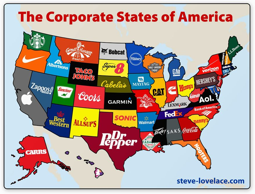 "The District of Columbia is difficult to locate on the Corporate States of America, but infographic creator Steve Lovelace calls himself a ""completionist"" and includes it on his website. To represent the nation's capital, he chose C-SPAN. ""I thought it still represented the politics and as D.C. as a separate district,"" he says. (steve-lovelace.com)"