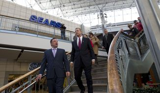 Maryland Gov. Martin O'Malley, right, accompanied by Howard County Executive Ken Ulman, tour the Mall in Columbia, Md, after the mall was reopened to the public on Monday Jan. 27, 2014. Three people died Saturday in a shooting at a mall in suburban Baltimore, including the presumed gunman. ( AP Photo/Jose Luis Magana)
