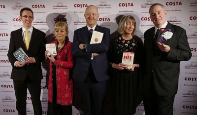 Costa Book of the Year short listed authors, from left, Nathan Filer, Kate Atkinson, Michael Symmons Roberts, Lucy Hughes-Hallett and Chris Riddell pose with their books during the award ceremony in London, Tuesday, Jan. 28, 2014. (AP Photo/Sang Tan)