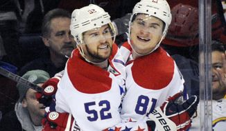 Washington Capitals' defenseman Mike Green (52) celebrates his goal with defenseman Dmitry Orlov (81), of Russia, during the second period of an NHL hockey game against the Buffalo Sabres in Buffalo, N.Y., Tuesday, Jan. 28, 2014. (AP Photo/Gary Wiepert)