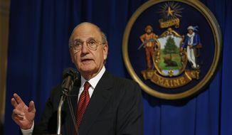 Former U.S. Sen. George Mitchell speaks after the unveiling of his portrait, Tuesday, Jan. 28, 2014, at the State House in Augusta, Maine. Mitchell, a Democrat, served as special envoy to peace negotiations in Northern Ireland after serving in the U.S. Senate from 1980 to 1995. He was Senate Majority Leader for six years. (AP Photo/Robert F. Bukaty)