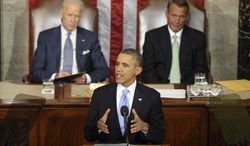 Vice President Joe Biden and House Speaker John Boehner of Ohio listen as President Barack Obama gives his State of the Union address on Capitol Hill in Washington, Tuesday, Jan. 28, 2014. (AP Photo/Susan Walsh)