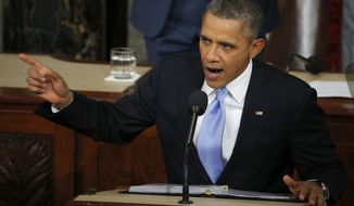 President Barack Obama delivers his State of the Union address on Capitol Hill in Washington, Tuesday Jan. 28, 2014. (AP Photo/Charles Dharapak)