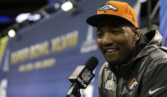 Denver Broncos' Shaun Phillips answers a question during media day for the NFL Super Bowl XLVIII football game Tuesday, Jan. 28, 2014, in Newark, N.J. (AP Photo/Jeff Roberson)