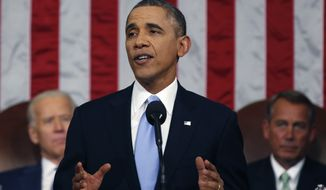 U.S. President Barack Obama delivers his State of the Union speech on Capitol Hill in Washington January 28, 2014. POOL PHOTO/ REUTERS/Larry Downing (UNITED STATES  - Tags: POLITICS)
