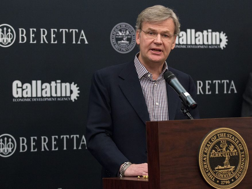 Franco Gussalli Beretta, a director of Beretta USA Corp., speaks Wednesday during a ceremony at the state Capitol in Nashville, Tenn., to announce that the Italian firearms maker is building a new manufacturing a research facility in the state. (AP Photo/Erik Schelzig