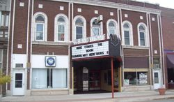 An undated photo provided by The Hardacre Theater Preservation Association is of the Hardacre Theater in Tipton, Iowa,  The Hardacre Theater Preservation Association says it recently acquired the purchase agreement for the nearly century old building.   (AP Photo/Greg Brown)