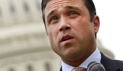 ** FILE ** This May 9, 2012, file photo shows Rep. Michael Grimm, R-N.Y., speaking on Capitol Hill in Washington. (AP Photo/Jacquelyn Martin, File)