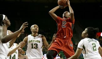Texas Tech guard Ivonne CookTaylor (2) goes up for a shot surrounded by Baylor defenders from left, Sune Agbuke, Makenzie Robertson (14), Nina Davis (13) and Niya Johnson (2) in the first half of an NCAA college basketball game, Wednesday, Jan. 29, 2014, in Waco, Texas. (AP Photo/Tony Gutierrez)