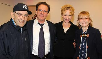 "This 2013 image released by Polk PR shows , from left, baseball legend Yogi Berra, actor Peter Scolari, his wife, actress Tracy Shayne and Carmen Berra at the Yogi Berra Museum & Learning Center at Montclair State University in Montclair, N.J. Scolari and Shayne portray the Berras in the play ""Bronx Bombers,"" which examines the rich history of the New York Yankees.  (AP Photo/Polk PR, Bruce Glikas)"