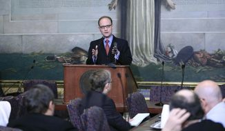 Oklahoma House minority leader Scott Inman D- District 94 speaks at a legislative forum hosted by the Associated Press at the Oklahoma State Capitol in Oklahoma City on Wednesday, Jan. 29, 2014. (AP Photo/Alonzo Adams)
