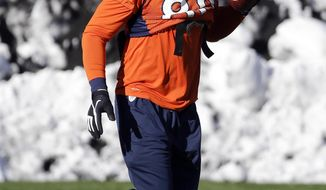 Denver Broncos tight end Julius Thomas runs a drill during practice Wednesday, Jan. 29, 2014, in Florham Park, N.J. The Broncos are scheduled to play the Seattle Seahawks in the NFL Super Bowl XLVIII football game Sunday, Feb. 2, in East Rutherford, N.J. (AP Photo/Mark Humphrey)