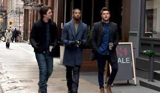 "This image released by shows Miles Teller, from left, Michael B. Jordan and Zac Efron in a scene from ""That Awkward Moment."" (AP Photo/Focus Features, Nicole Rivelli)"