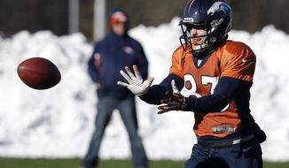 Denver Broncos wide receiver Wes Welker (83) catches a pass during practice Wednesday, Jan. 29, 2014, in Florham Park, N.J. The Broncos are scheduled to play the Seattle Seahawks in the NFL Super Bowl XLVIII football game Sunday, Feb. 2, in East Rutherford, N.J. (AP Photo/Mark Humphrey)