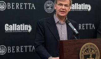 Franco Gussalli Beretta, a director of Beretta USA Corp., speaks during a ceremony at the state Capitol in Nashville, Tenn., on Wednesday, Jan. 29, 2014, to announce that the Italian firearms maker is building a new manufacturing a research facility in the state. The $45 million plant is expected to be completed this year and could create 300 jobs. (AP Photo/Erik Schelzig