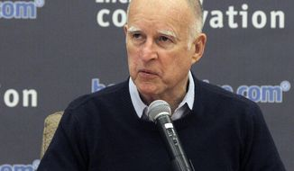 **FILE** California Gov. Jerry Brown talks during a meeting with more than a dozen water leaders from across Southern California in Los Angeles on Jan. 30, 2014. Brown met with water managers as the state grapples with extreme drought conditions. (Associated Press)