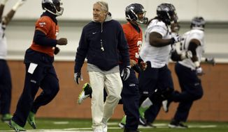 Seattle Seahawks head coach Pete Carroll watches as members of his team warms up during NFL football practice Thursday, Jan. 30, 2014, in East Rutherford, N.J. The Seahawks and the Denver Broncos are scheduled to play in the Super Bowl XLVIII football game Sunday, Feb. 2, 2014. (AP Photo)