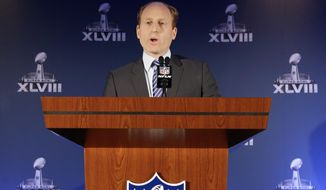 Jeff Miller, with the NFL, speaks during a news conference on health and safety at the NFL Super Bowl XLVIII media center, Thursday, Jan. 30, 2014, in New York. (AP Photo)