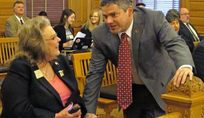 Kansas State Rifle Association President Patricia Stoneking, left, confers with Kansas Republican Party Chairman Kelly Arnold, right, before a legislative committee hearing on gun legislation, Thursday, Jan. 30, 2014, at the Statehouse in Topeka, Kan. A House committee took testimony on a bill to strip cities and counties of any power to regulate guns. (AP Photo)