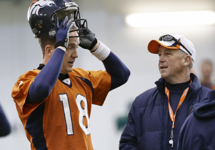 Denver Broncos quarterback Peyton Manning (18) talks with head coach John Fox during practice Thursday, Jan. 30, 2014, in Florham Park, N.J. The Broncos are scheduled to play the Seattle Seahawks in the NFL Super Bowl XLVIII football game Sunday, Feb. 2, in East Rutherford, N.J. (AP Photo)