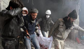 In this citizen journalism image provided by Aleppo Media Center (AMC), an anti-Bashar Assad activist group, which has been authenticated based on its contents and other AP reporting, Syrian residents and rescue workers carry a body from a building damaged by the Syrian forces airplanes in the neighborhood of Qadi Askar in Aleppo, Syria, Thursday, Jan. 30, 2014. The Aleppo Media Center said the air raid killed and wounded several people. (AP Photo/Aleppo Media Center, AMC)