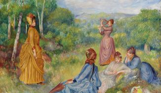 "In this image provided by Christie's auction house, Friday, Jan. 31, 2014 is ""Young Women Playing Badminton"" by French impressionist painter Pierre-Auguste Renoir. It is part of the Huguette Clark collection that is scheduled to be offered at auction May 6 in New York. (AP Photo/Christie's)"