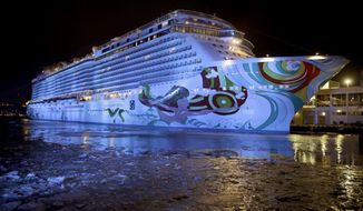 This Jan. 30, 2014 photo shows the cruise ship Norwegian Getaway in the icy Hudson River in New York. The cruise ship is serving as a hotel, renamed the Bud Light Hotel, for hosting Super Bowl-related events, before returning to its homeport in Miami. (AP Photo)