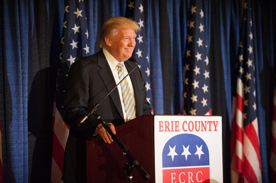 Donald Trump speaks  at the Erie County Republican Committee fundraiser at Salvatore's Italian Gardens in Depew, NY, Friday, Jan. 31, 2014. The fundraiser was the largest GOP fundraiser in Western New York history (AP Photo/Lockport Union-Sun & Journal, Joed Viera)